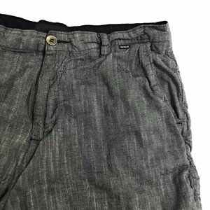 Hurley Shorts - Hurley Gray Flat Front Chino Above The Knee Shorts